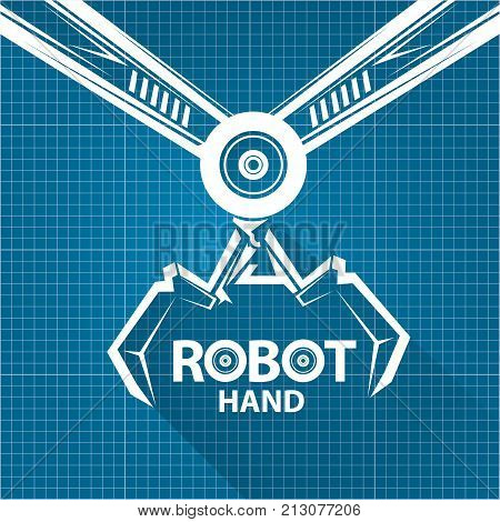Vector robotic arm symbol on vector photo bigstock vector robotic arm symbol on blueprint paper background robot hand technology background design template malvernweather Gallery