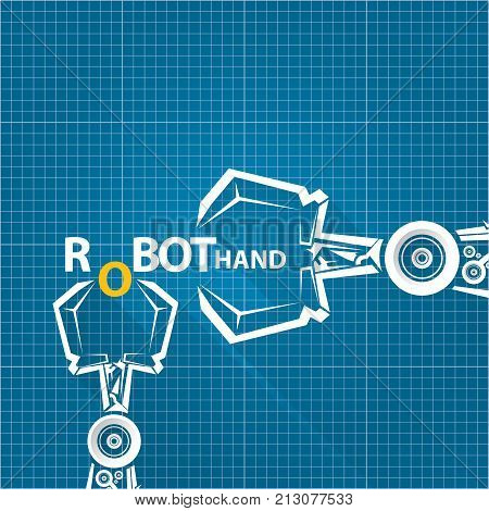 Vector y foto vector robotic arm symbol on bigstock vector robotic arm symbol on blueprint paper background robot hand technology background design template malvernweather Gallery