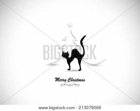 Silhouette of black cat and Christmas tree- vector illustration