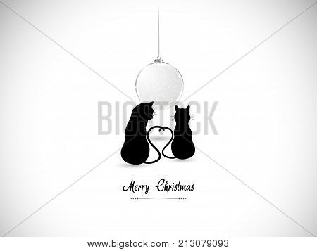 Silhouettes of two cats in love and Christmas ball