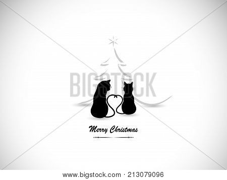 Silhouettes of two cats in love and Christmas tree
