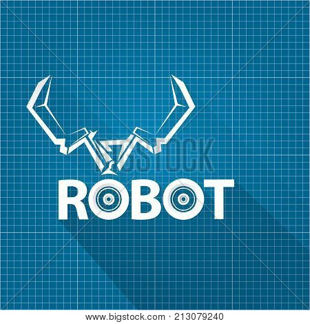 Vector robotic arm vector photo free trial bigstock vector robotic arm symbol on blueprint paper background robot hand technology background design template malvernweather Gallery