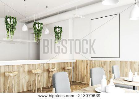 White Bar Corner Wooden Stand, Poster, White