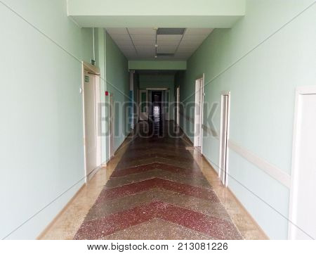 Corridor Of The Hospital. The Hospital In Russia. Conditions And Repair Of The Building.