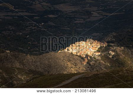 Afternoon Sun Lighting Up Village Of Speloncato In Corsica
