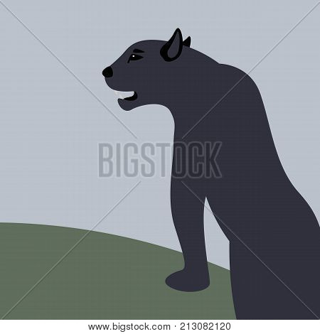 cougar vector illustration flat style black silhouette side