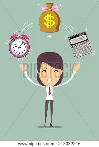 financial advisor - Bookkeeping services and time management. Profit, finances concept. Vector, flat illustration