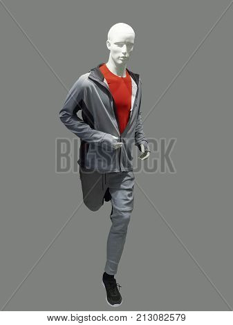 Running male mannequin isolated. No brand names or copyright objects.