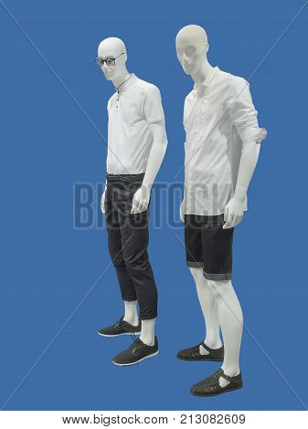 Two full-length male mannequins dressed in casual clothes isolated. No brand names or copyright objects.