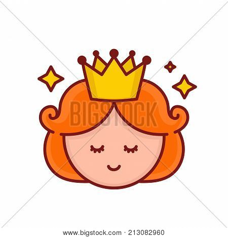 Cute funny smiling girl princess face.Vector cartoon character illustration.Design for child card,t-shirt.Girls,kid concept.Isolated on white background.Cute little princess face with crown and stars