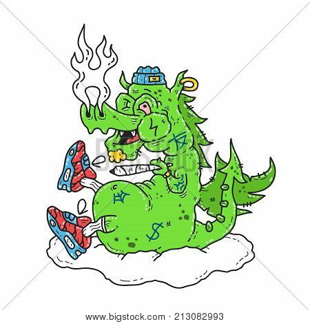 Funny stoned dope dragon smoke marijuana blunt. Vector modern style illustration. Dope print design for t-shirt