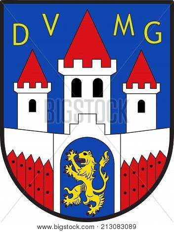 Coat of arms of Jever is the capital of the district of Friesland in Lower Saxony Germany. Vector illustration