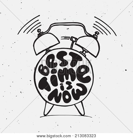 ringing alarm clock with light texture and lettering about best time is now. Time vector Concept illustration. Present moment concept letters with alarm isolated on white background