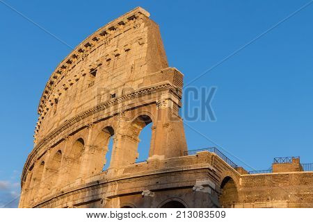 Ancient Colosseum also known as Coliseum or Flavian Amphitheater or Colosseo at sunset largest amphitheatre ever built popular tourist attraction in Rome, Italy