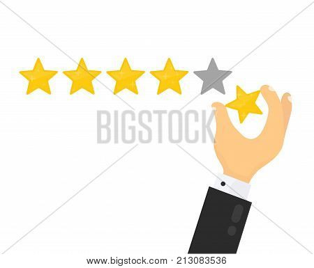 Businessman hand giving five star rating. Vector modern flat style cartoon character illustration.Isolated on white background. Customer review,feedback, reputation,quality concept