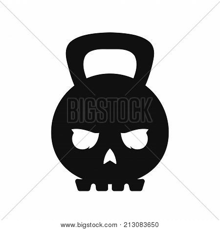 Skull weight kettlebell. Vector modern style flat line  character cartoon illustration icon logo template design. Isolated on white background. Skull,weight,sport,kettlebell,gym concept