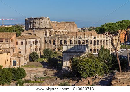 Panoramic view the Colosseum-Coliseum and Roman Forum from Palantine hill, Rome, Italy
