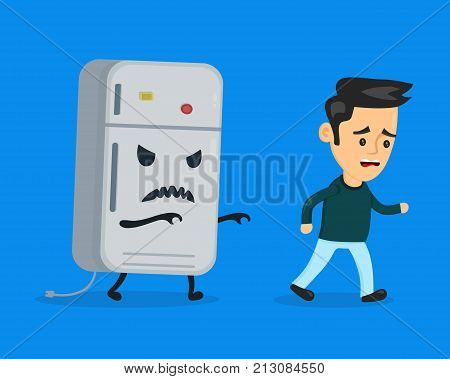 Angry evil refrigerator runs after a frightened man.Vector flat cartoon character illustration icon design. Isolated on blue background. Nutrition diet concept