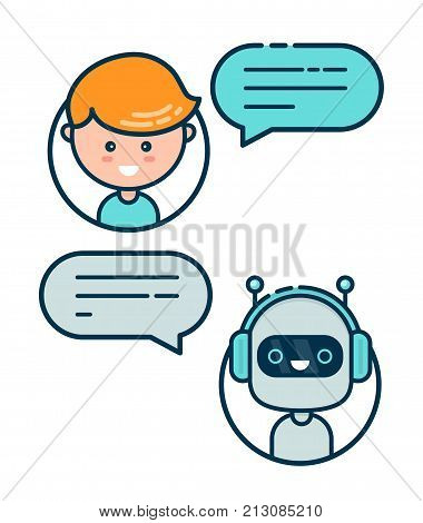 Cute smiling chat bot is written off with a person man. Vector flat modern style cartoon character illustration icon design. Isolated on white background. Chat bot robot concept, Dialog help service