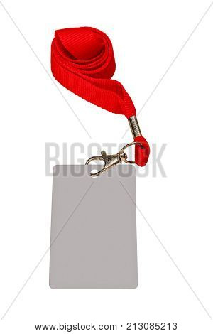 Collapsed red ribbon with badge isolated on white color.