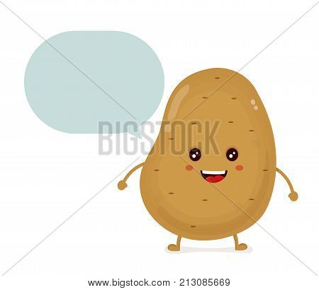 Cute happy smiling funny potato with talking dialog bubble speech character. Vector flat cartoon character illustration icon design.Isolated on white background. potato vegetable concept