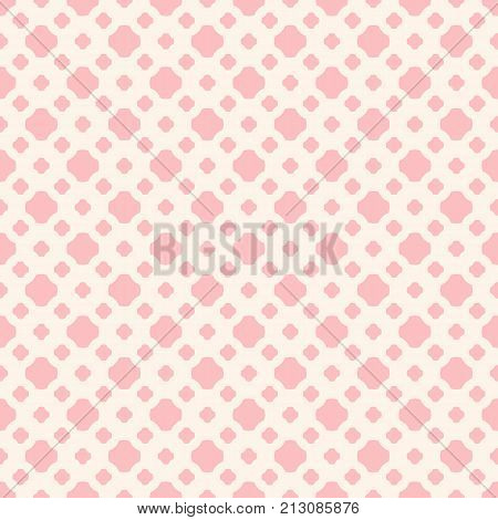 Cute vintage seamless pattern in trendy pastel colors pink and beige. Abstract geometric background with small floral shapes, rounded crosses, dots. Subtle repeat texture. Baby pattern. Boys pattern. Girls pattern. Pink pattern. Wedding pattern.