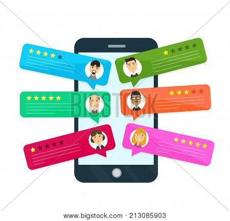 Review rating bubble speeches. Vector modern style cartoon character illustration avatar icon design. concept of decision, grading system, reviews stars rate and text, messages on smartphone mobile