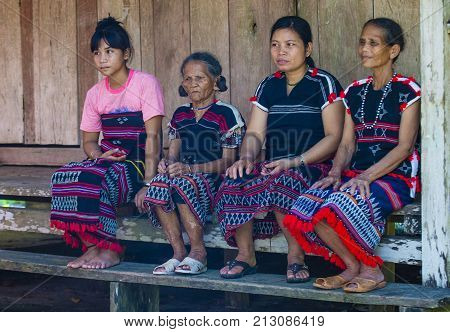 QUANG NAM VIETNAM - OCT 07 : Women from the Cotu Minority in Quang Nam Vietnam on October 07 2017. The Cotu minority mostly live in central Vietnam and eastern Laos