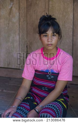 QUANG NAM VIETNAM - OCT 07 : Portrait of a girl from the Cotu Minority in Quang Nam Vietnam on October 07 2017. The Cotu minority mostly live in central Vietnam and eastern Laos