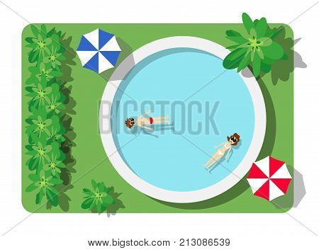 Top view of the swimming pool with beach umbrellas and vacationers people