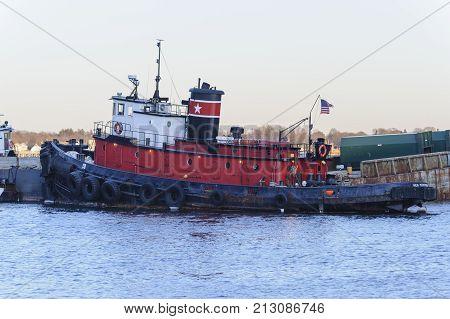 New Bedford Massachusetts USA - January 29 2010: Tug