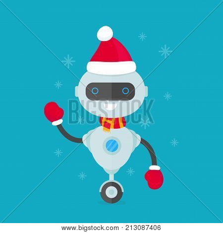 Happy smiling robot, chat bot in christmas hat and scarf. Vector modern flat style character cartoon illustration design. Isolated on white background. christmas  robot concept for card