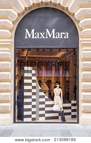 VIENNA, AUSTRIA - JUNE 06, 2017: Max Mare store window. Max Mara is an Italian fashion business. It was established in 1951 in Reggio Emilia by Achille Maramotti