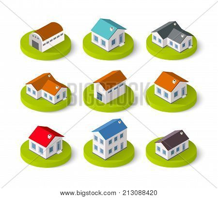 Set of isometric 3D icons house home. Residence building the city landscape three-dimensional vector symbol concept