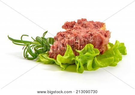 Beef Stew With Herbs, Isolated On White Background