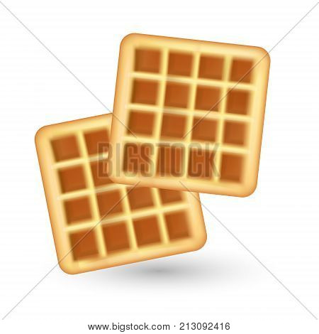 Realistic waffle icon, isolated on white background. Waffles 3d style. Breakfast, baking concept. Vector illustration