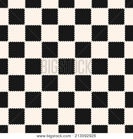 Checkered geometric seamless pattern with jagged square shapes. Abstract monochrome black and white texture. Checker chess background, repeat tiles. Design for prints, fabric, textile. Chessboard.pattern. Checker board pattern. Chess pattern.