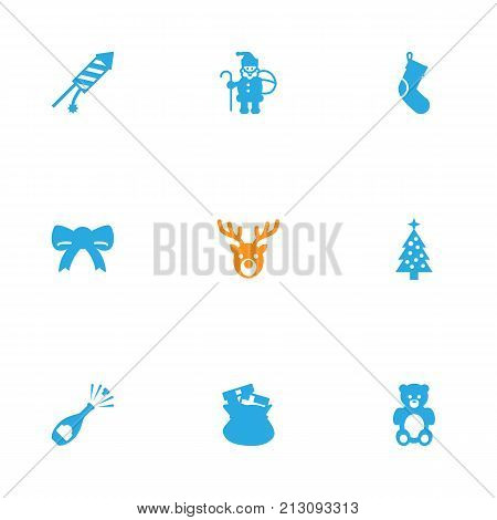 Collection Of Decoration, Socks, Deer And Other Elements.  Set Of 9 Christmas Icons Set.