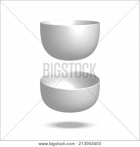 Realistic vector illustration plate. Empty bowl. Isolated on white background. View from above. Set of empty white plates and bowls. Kitchen utensils. 3d mock up