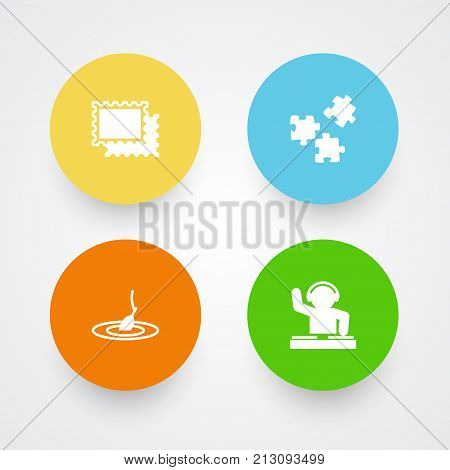 Collection Of Rod, Jigsaw, Disco And Other Elements.  Set Of 4 Lifestyle Icons Set.