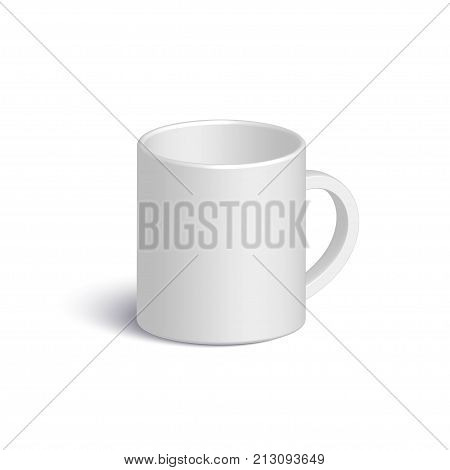 White realistic vector mug. Isolated 3d cup with shadow on white background. Vector template for Mock Up. Vector illustration