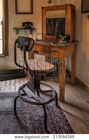 Telephone Operator's Station With Chair - vintage phone workstation
