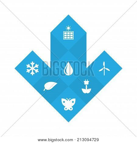 Collection Of Blob, Wind Energy, Winter Snow And Other Elements.  Set Of 7 Ecology Icons Set.
