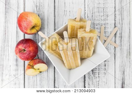 Fresh Made Apple Popsicles (selective Focus)