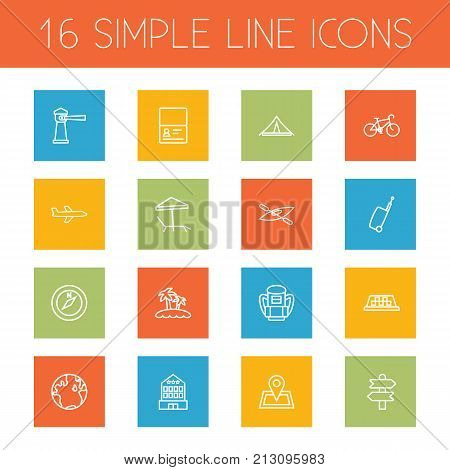 Collection Of Airplane, Globe, Case And Other Elements.  Set Of 16 Travel Outline Icons Set.