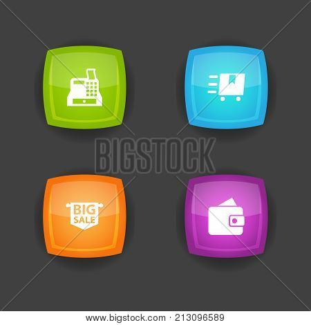 Collection Of Cargo, Till, Advertising And Other Elements.  Set Of 4 Store Icons Set.