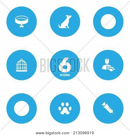 Collection Of Neckband , Footprint , Dog Elements.  Set Of 6 Animals Icons Set.
