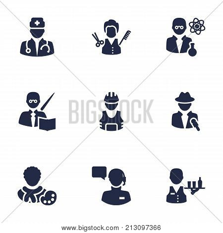 Collection Of Stylist, Producer, Leaner And Other Elements.  Set Of 9 Job Icons Set.