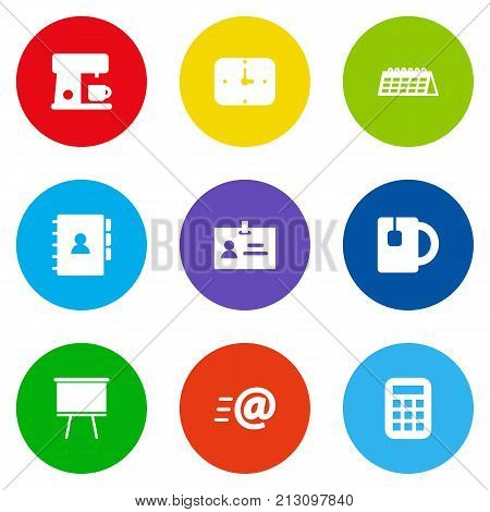 Collection Of Date, Message, Book And Other Elements.  Set Of 9 Workspace Icons Set.