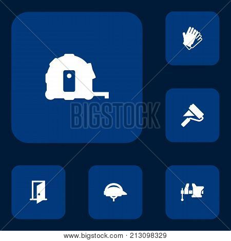 Collection Of Meter, Clamp, Hardhat And Other Elements.  Set Of 6 Work Icons Set.